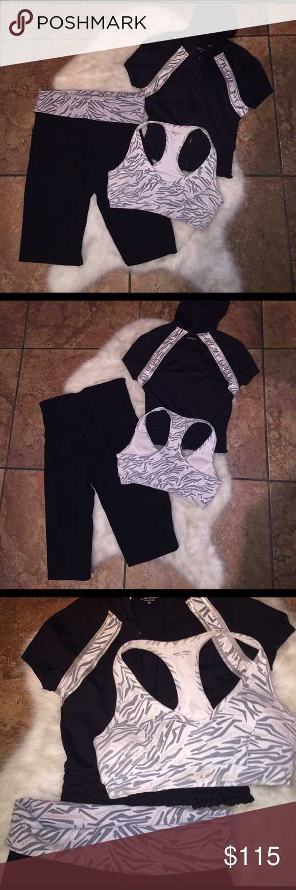 Bebe 3 or 4 Piece Gym Workout/ Yoga Set ✨Capri Yoga Pant - high waist or roll down, unique abstract print, ✨ V Neck Abstract Print Sports Bra, ✨ $20 to add the shorts (4 pieces for $150) Option to pair with - Silver Stretch Workout Short NWOT, All Size Small, ✨Short Sleeve Crop Hoodie super cute, zip front, size XS fits like a S (meant to be cropped and cute). Some signs of wear on the white/grey just fading but overall good condition. Stretch fabric perfect for any workout. 💪🏼 bebe Other