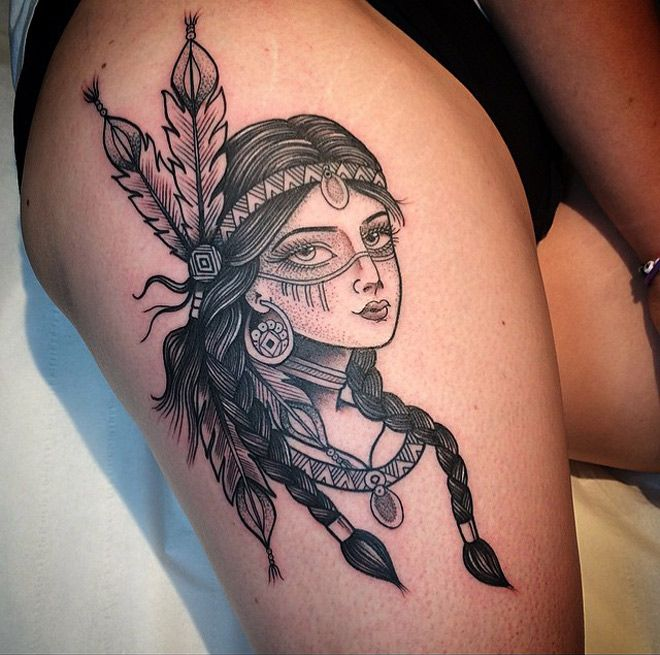 Native American Girl Tattoo | Best tattoo ideas & designs