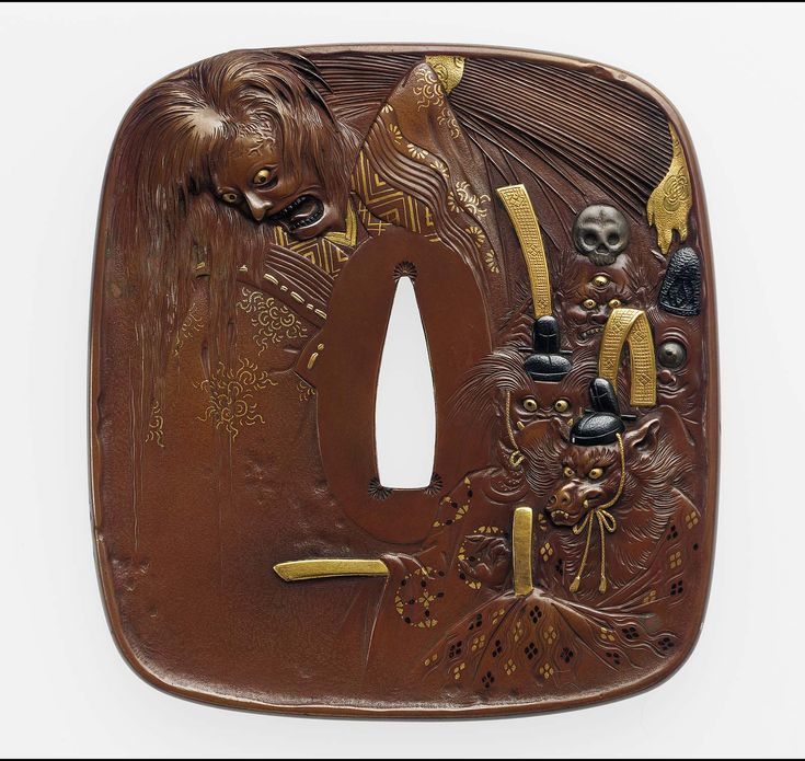 Tsuba with design of a female ghost and animal-headed demons Japanese Edo period–Meiji era mid to late 19th century Unno Shomin (Japanese, 1844–1915 Japanese), After Maruyama Ôkyo (Japanese, 1733–1795)