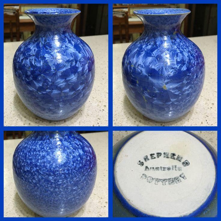 Shepherd Pottery Glenbrook Blue Crystalline Glaze Vase - $2 at the Op Shop.