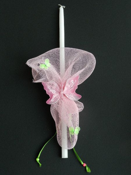 Easter Candle The Pink Butterfly by pinelopiCreations on Etsy, $15.00