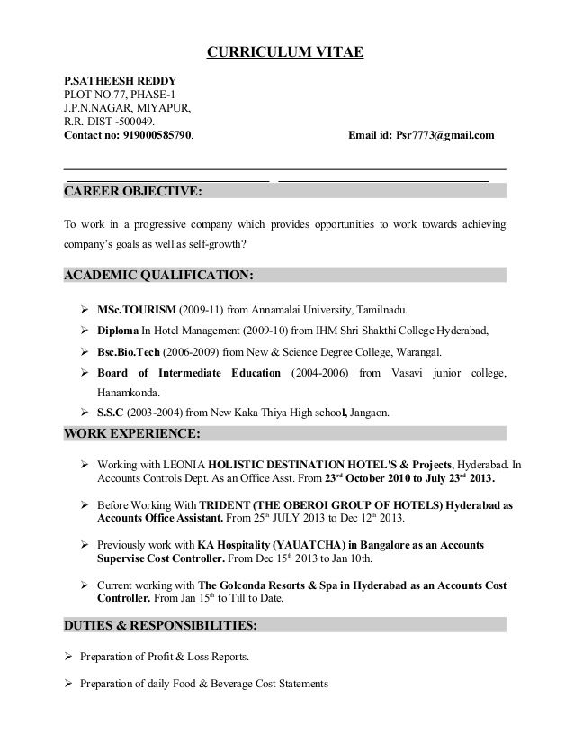 Slideshare Fb Accounts Cost Controller Cv Satheesh Reddy 7f40018d Resumesample Resumefor Resume Resume Format Resume Examples