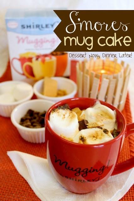 {Dessert Now, Dinner Later!} S'mores Mug Cake - a little taste of summer combined into one 90-second mug cake! #cake #dessert #mug