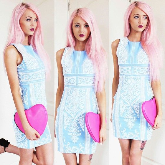In Love With Fashion Dress, Asos Heart Clutch, Primark Heels
