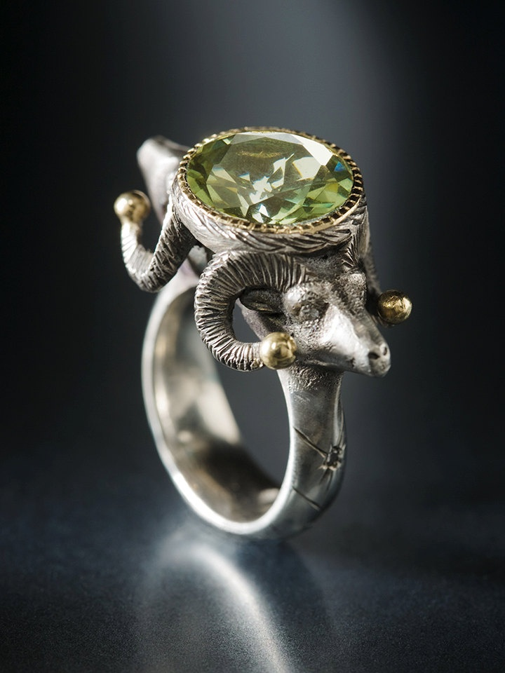 Sterling Silver and 18k Yellow Gold Rams Head Ring with Green Amethyst and Diamonds - Adam Foster Jewelry #jewellery #ring