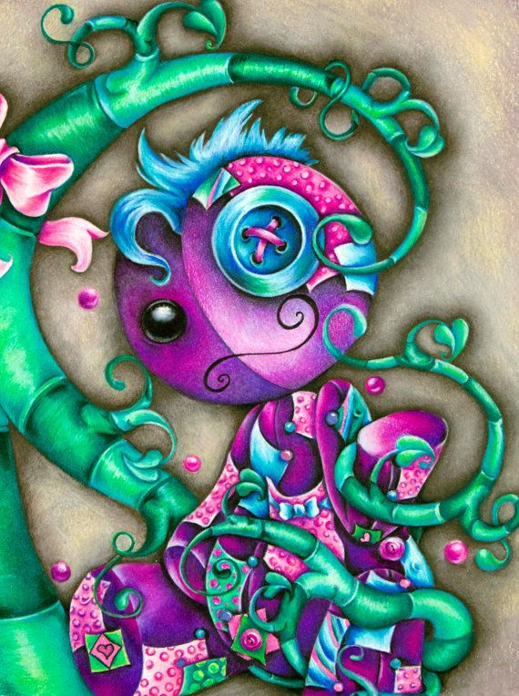 """Doll Original Colored Pencil Painting- 8"""" x 10"""""""