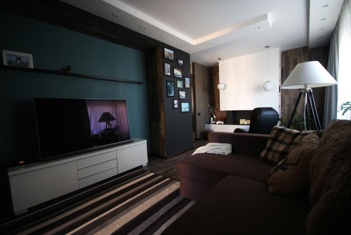 Интерьер гостиной в темных тонах, мебель для гостиной