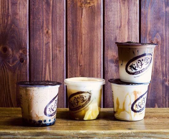 Half & Half Tea House, milk teas like black milk tea, lavender green milk tea, milk tea with caramel, pudding, honey boba