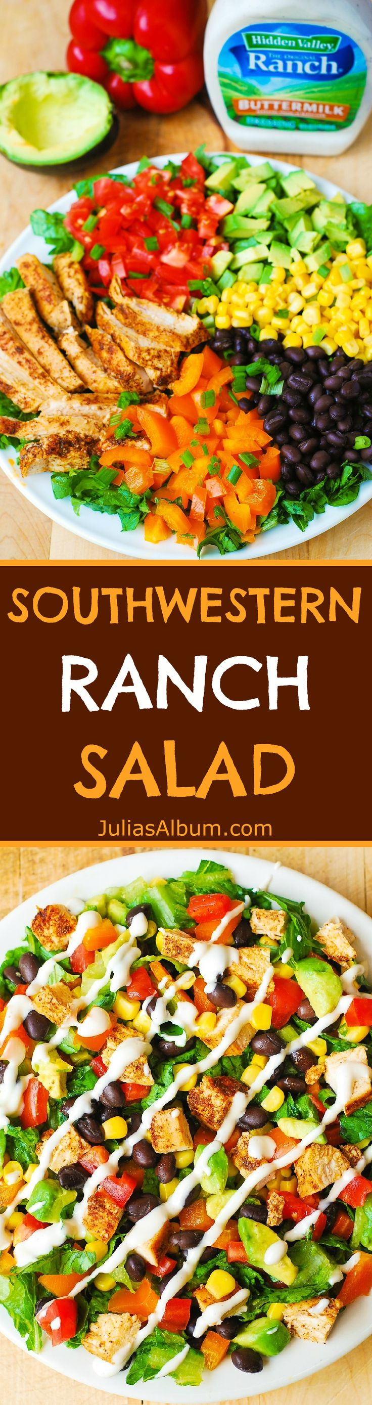 Avocado Chicken Southwestern Chopped Salad with Buttermilk Ranch Dressing  #ad #sponsored by Hidden Valley