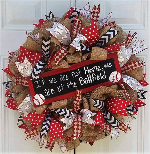 Ready to Ship Baseball Mesh Wreath/Sports by StudioWhimsybyBabs