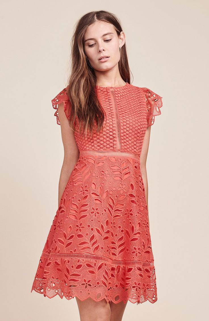 Now here's the kind of dress you can bring home to mom... or moms... or dads? (we appreciate all family structures). The Ariane is a mixed lace and eyelet fit-and-flare dress with scalloped trim. Shop BB Dakota now.
