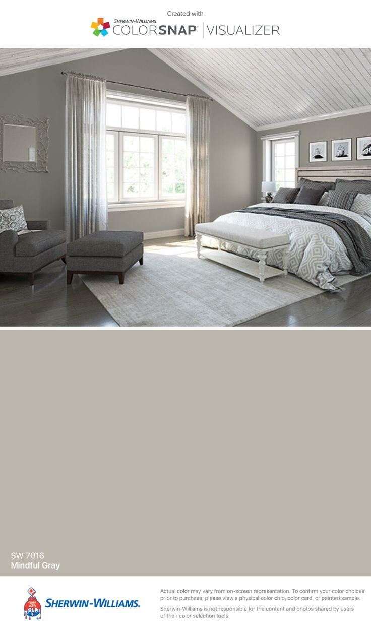 Master and Drew's bedroom by Sherwin-Williams: Mindful Gray (SW 7016).