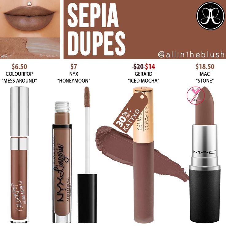 Anastasia Beverly Hills Sepia Liquid Lipstick Dupes