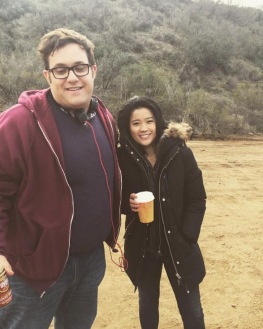 Scorpion Co Stars: Ari Stidham and Jadyn Wong on the set of Scorpion.