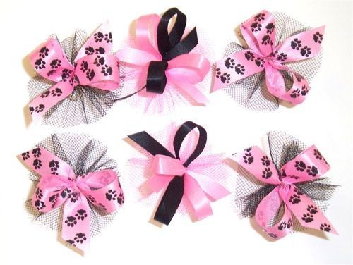 AC0909 - Hot Pink and Black Hair Bow Collection