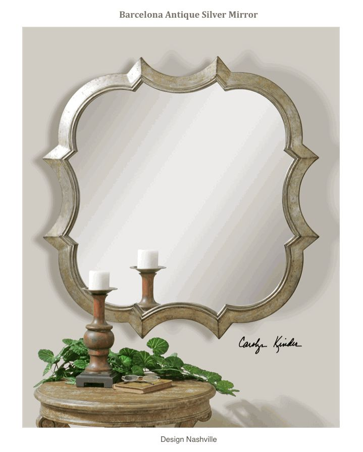 Barcelona Antique Silver Mirror contemporary, sophisticated Mediterranean style mirror in antique silver finish. large size 42x42 is ideal for focal places. DesignNashville.com exclusivity with ease