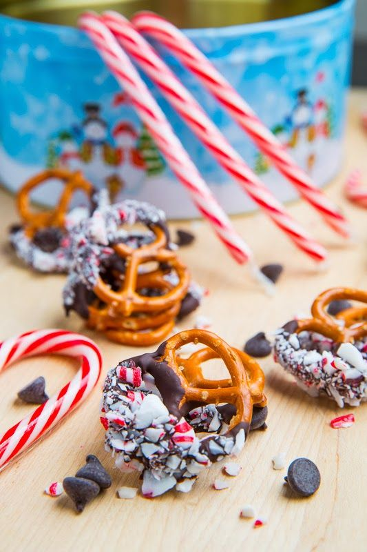 Peppermint Chocolate Coated Pretzels