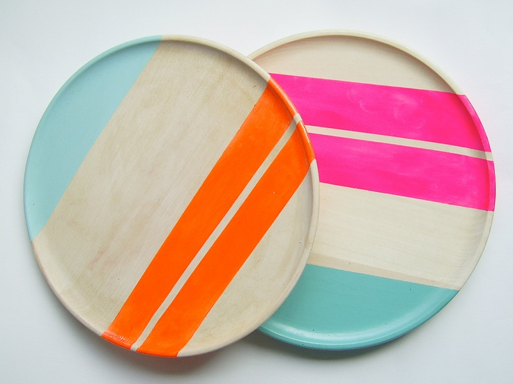 "Modern Neon Hardwood 10"" Dinner Plate, Electric Orange by Nicole Porter Design #neon #nicoleporter #wood"