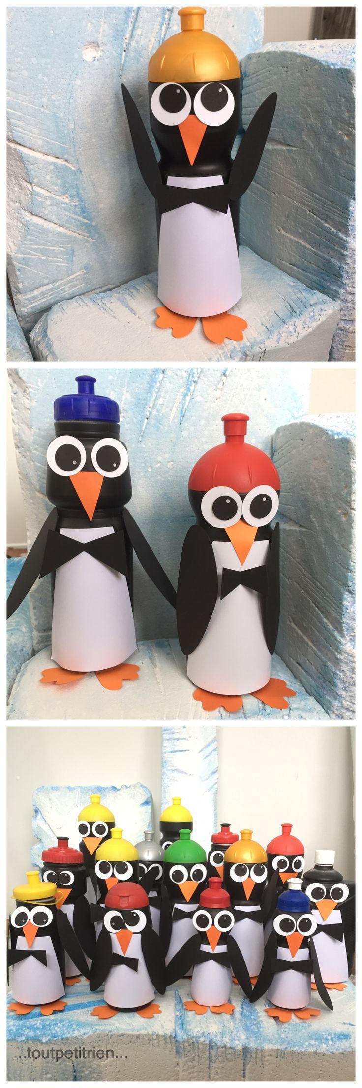 Pingouins recyclage anciennes gourdes. Décoration vitrines Clinique vétérinaire www.toutpetitrien.ch - fleurysylvie