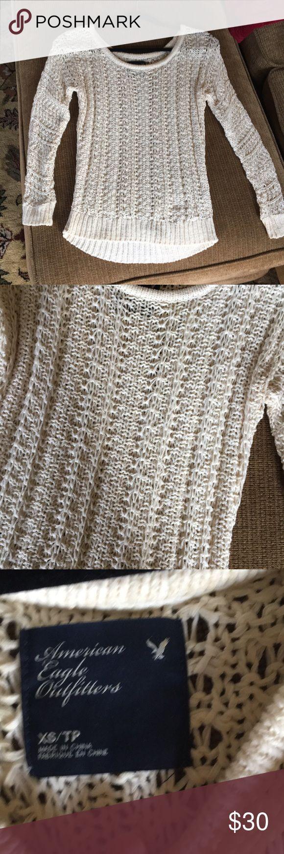 American eagle cream sweater XS cream sweater American Eagle Outfitters Sweaters Crew & Scoop Necks
