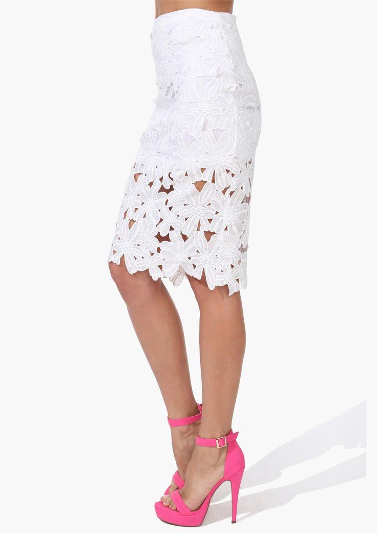 #SALE White Crochet Pencil Skirt #Sheinside
