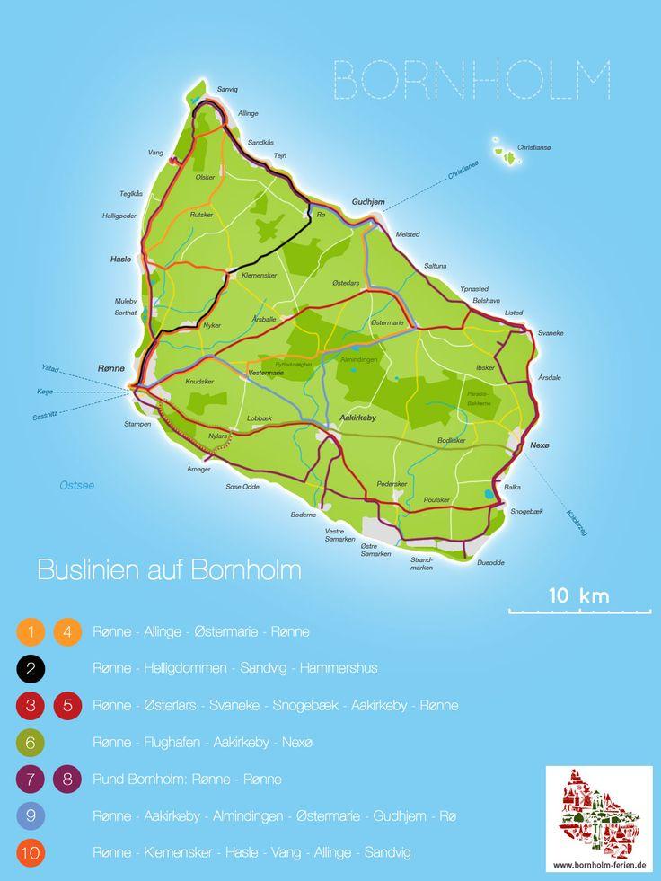 Karte der Buslinien auf Bornholm #Karte #Bus #Buslinien #Bornholm #Dänemark #ÖPNV