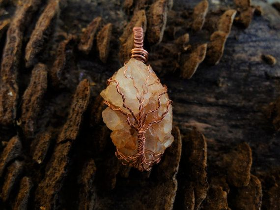 Raw Orange Quartz Pendant Christmas Gifts for Her by OCcreation