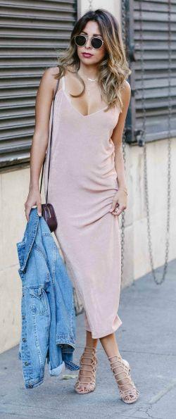 Ashley Torres + gorgeous pink slip dress + classic pyjama style + denim jacket + matching blush pink heels + cool + sophisticated look.   Dress: Zara, Jacket: Just Fab, Bag: YSL, Heels: Steve Madden.