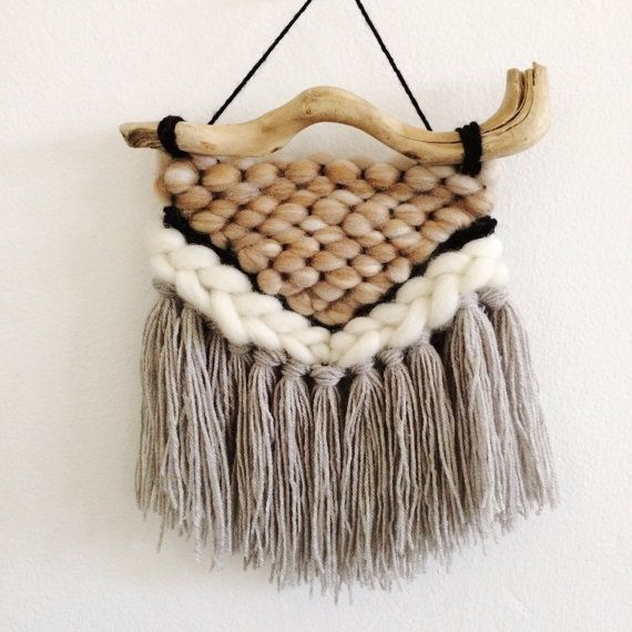 Mini woven wall hanging by WovenByRo on Etsy