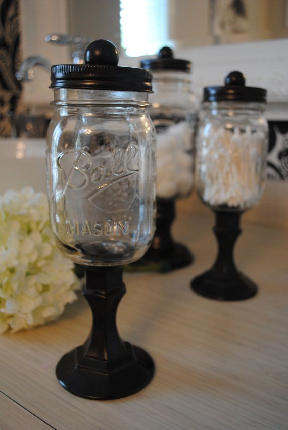 Oil rubbed bronze apothecary mason jars by TheShabbyMustardSeed, $35.00