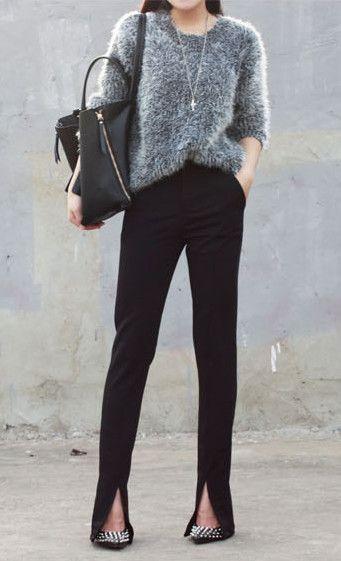 Women's Crepe Trouser Slim Fit Front Ankle Slit // slim waist pencil pants trousers small straight split