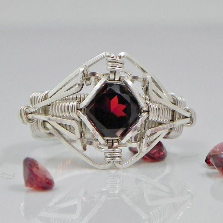 Garnet Gemstones Wire Wrapped Ring Silver Handmade Fair Trade USA Bazaars R Us