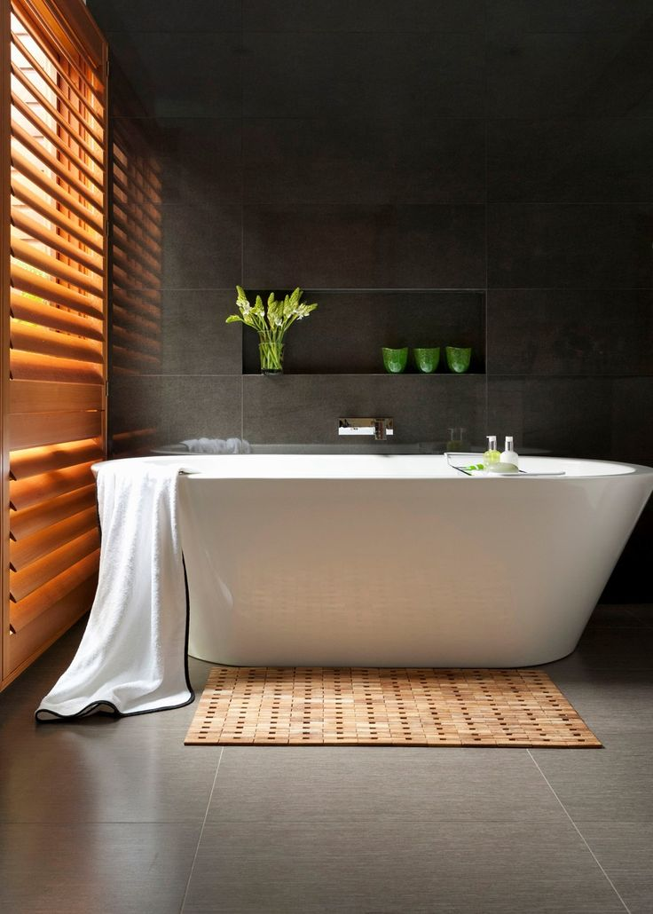 Zen retreat. Serene and luxurious, this bathroom centres around a freestanding Reece tub that beckons long soaks.