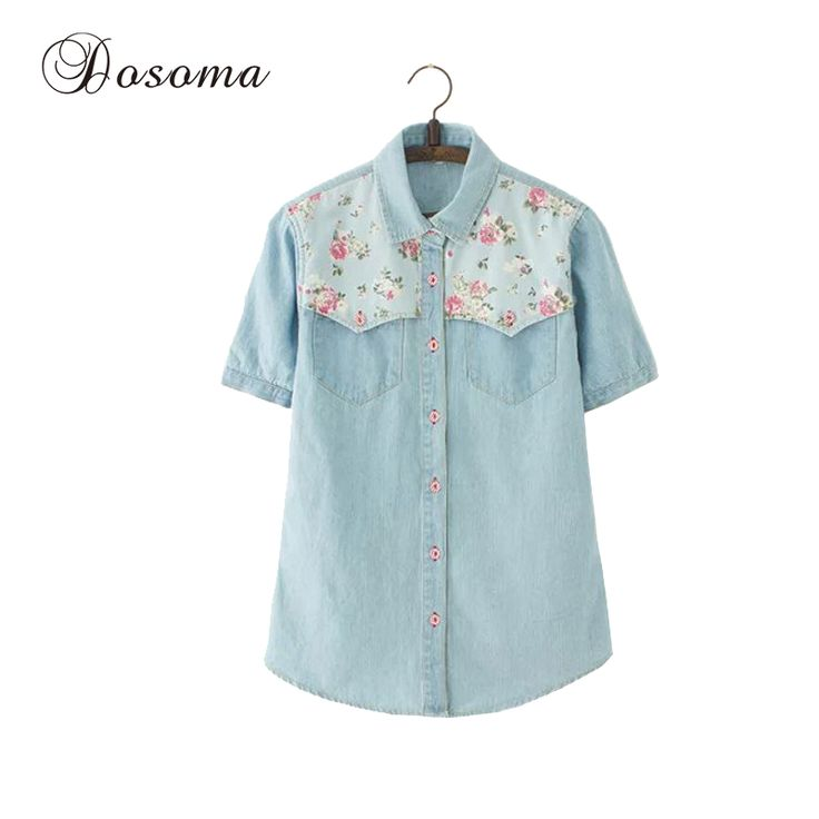 Plus Size Denim Shirt Women 2017 Summer Short Sleeve Women Blouses Tops Female Floral Print Casual Shirt Jeans Blusas Femininas -- AliExpress Affiliate's Pin. Click the image to find out more