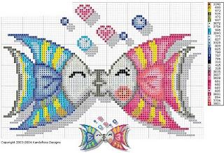 Cross-stitch Kissy Fish...  peces.jpg (320×219)