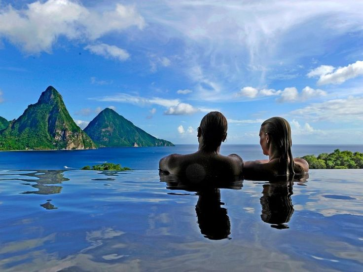 JADE MOUNTAIN RESORT  Soufriere, St. Lucia Guests at this hotel, which doesn't allow children under 15, get the best of both worlds: though they're given full access to the beachfront amenities at sister property Anse Chastanet, rooms—in which the fourth wall has been replaced by a private infinity pool—are perched just above that 600-acre resort, offering loads of privacy whenever you want it.