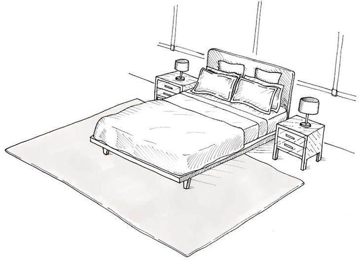 area rug layout for bedrooms