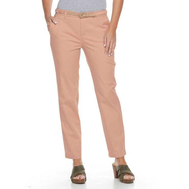 Women's Croft & Barrow® Tapered Chino Pants, Size: 12 Short, Lt Orange