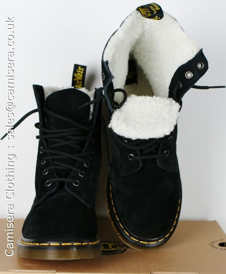 women's serena doc martens size 6 black (fur lined!!)