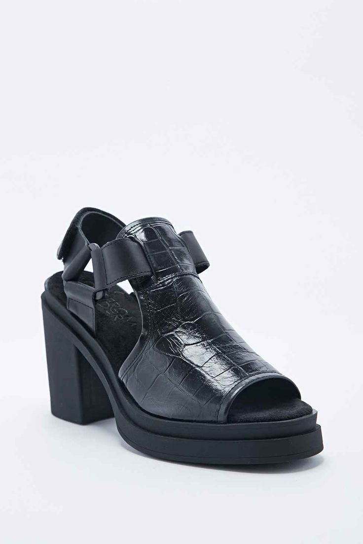 Out From Under Kendall Croc Panel Platform Sandals in Black, Urban Outfitters