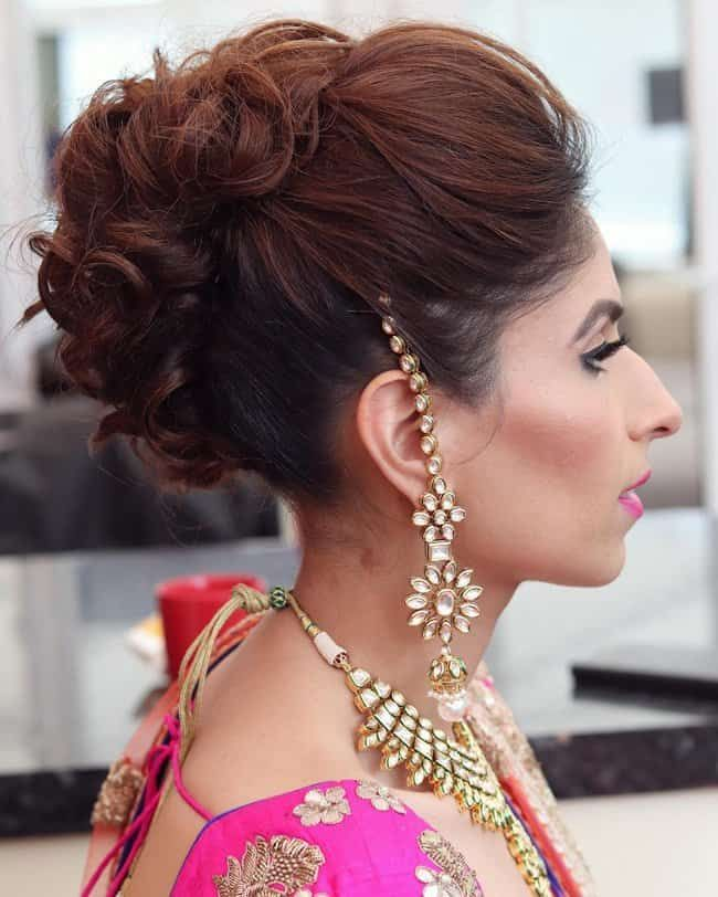 Medium Hair Open Hairstyle For Indian Wedding Step By Step In 2020 Short Wedding Hair Hairdo For Long Hair Indian Bridal Hairstyles