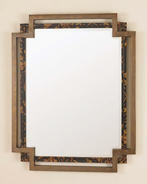 Mecox Gardens - Tortoise Parchment and Brass Mirror