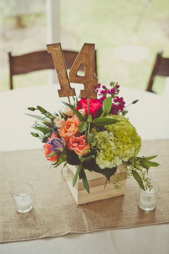 Rustic Wedding Table Numbers - Set Includes Numbers 1-12 - Shabby Chic - Wooden Table Numbers. $60,00, via Etsy.