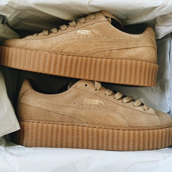 Rihanna Puma Creepers ☄Deadstock☄ NIB Oatmeal Rihanna Fenty Puma Creepers. BRAND NEW NEVER BEEN WORN IN BOX. Oatmeal color way. Originally released in September 2015. I have had these sitting in my closet for literally MONTHS. They do not fit me. They are too big and obvi they sold out so I couldn't exchange them for my size. I bought them from Nordstrom & have receipt for proof. NO TRADES. FIRM ON PRICE. Puma Shoes Athletic Shoes