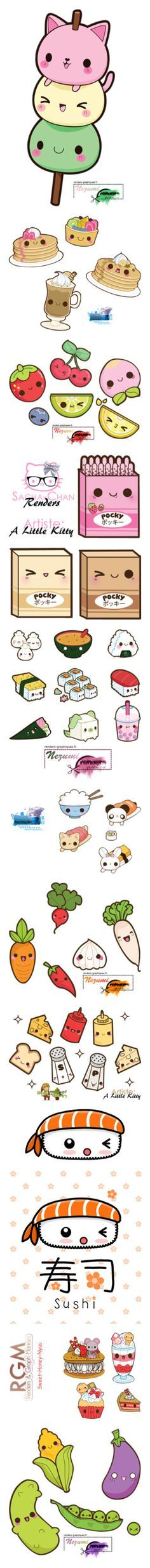 """""""KAWAII!!!!! X3"""" by demondog ❤ liked on Polyvore featuring fillers, anime, kawaii, doodle, backgrounds, food, animals, cartoon, effects and art"""