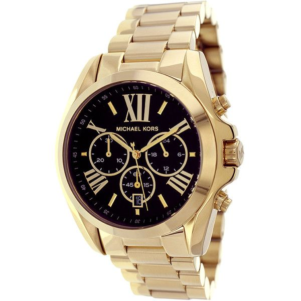 Michael Kors Women's 'Bradshaw' Goldtone Chronograph  Dial Watch (910 RON) ? liked on Polyvore featuring jewelry, watches, accessories, water resistant watches, gold tone watches, michael kors bracele