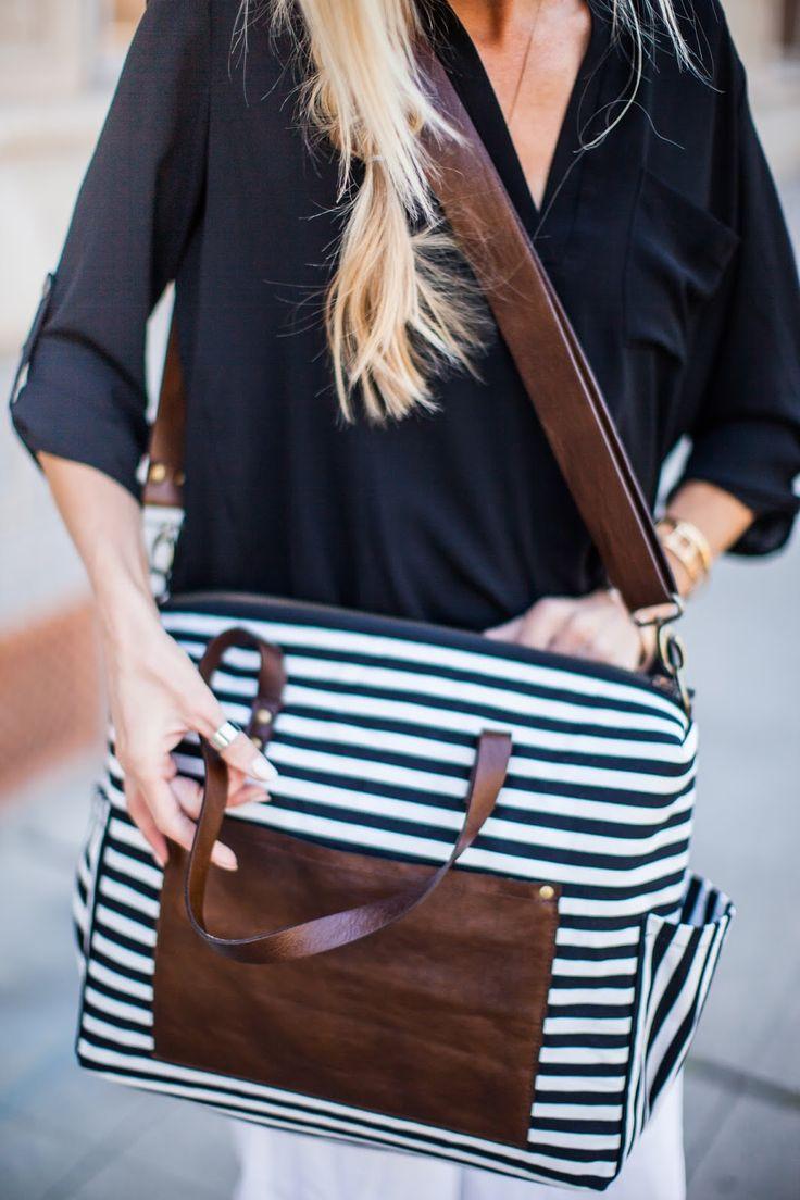The cutest stripe diaper bag that doubles as a purse.