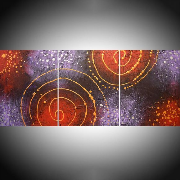 "large triptych metallic wall art gold silver abstract original painting galaxy "" Cosmic Symphony 2 "" canvas purple crimson red - 48 x 20 inches"