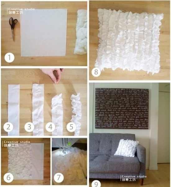 Ruffle pillow diy, I like this sooo much!!!
