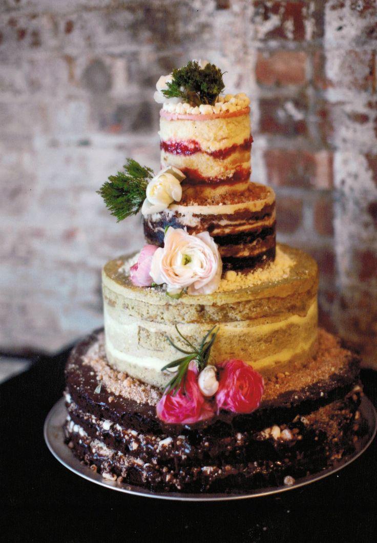 multi-flavored naked wedding cake | Cake: Momofuku Milk Bar